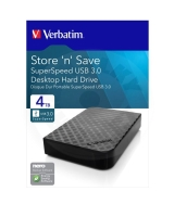 "Verbatim HDD 3.5"" 4 TB USB 3.0 SuperSpeed, černý, GEN2, Green Button (PC/MAC)"