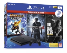 Sony PlayStation 4 Slim 1 TB + Ratchet and Clank + Uncharted 4 + The Last of Us Remastered