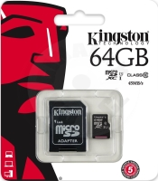 Kingston micro SDXC 64GB UHS-I U1 45R/ 10W Memory card + adaptér