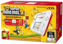 Nintendo 2DS White + Red + New Super Mario Bros 2