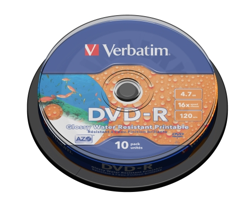 DVD-R 16x Wide Printable Water Resistant No ID Brand, 10 pck. spindle